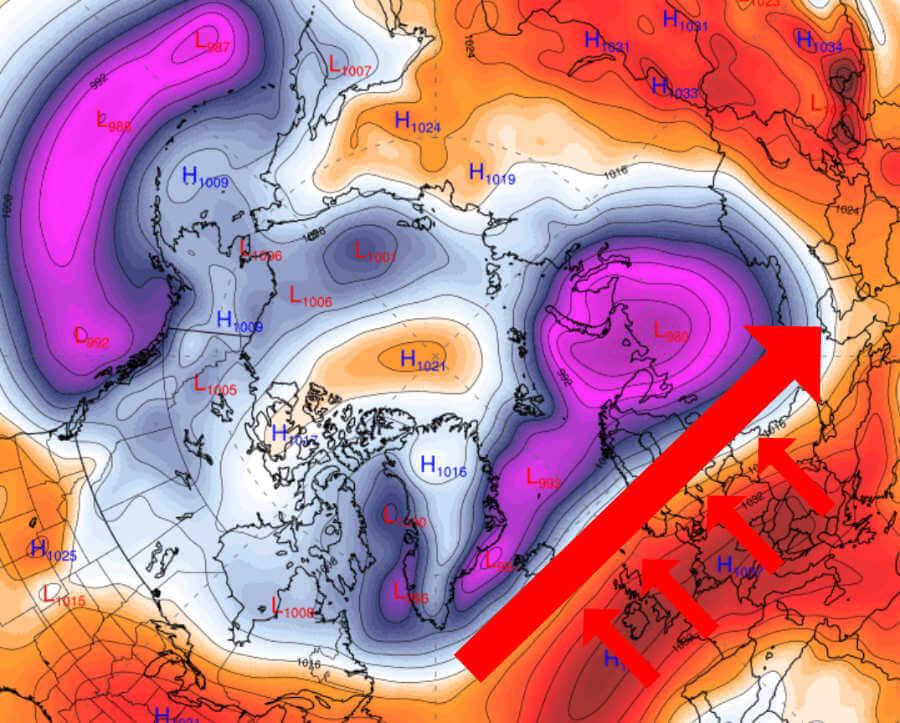 Eine nach Norden verschobene Tiefdruckzone