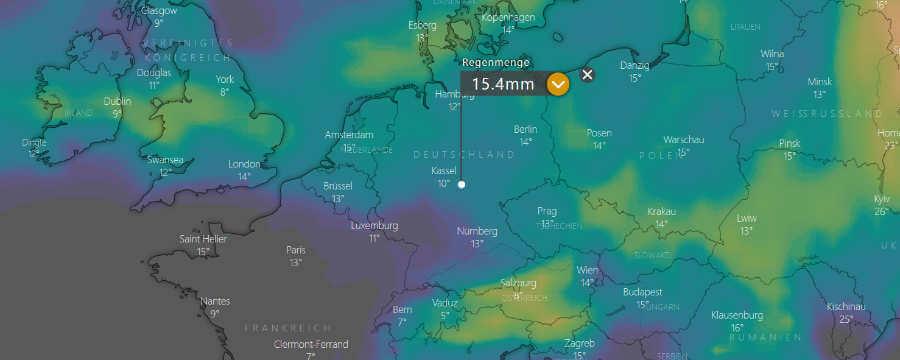 Unbeständiges Sommerwetter, in Summe aber deutlich weniger Niederschlag, als in den letzten Tagen noch berechnet